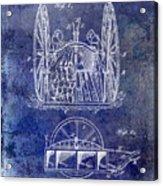 Fire Hose Cart Patent Blue Acrylic Print