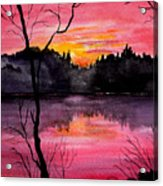 Fire In The Sky    Lake Arrowhead Maine Acrylic Print