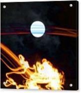 Fire Moon Abstract Moonlit Night Acrylic Print