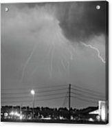 Fire Rescue Station 67  Lightning Thunderstorm Black And White Acrylic Print