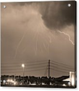 Fire Rescue Station 67  Lightning Thunderstorm Sepia Black And W Acrylic Print