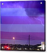 Fire Rescue Station 67  Lightning Thunderstorm With Usa Flag Acrylic Print