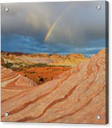 Fire Wave Rainbow Dawn Acrylic Print