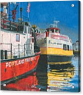 Fireboat And Ferries Acrylic Print
