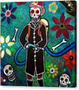 Firefighter Day Of The Dead Acrylic Print by Pristine Cartera Turkus