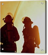 Firefighters In Silhouette Acrylic Print