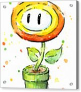 Fireflower Watercolor Acrylic Print