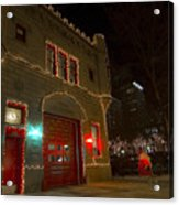 Firehouse In Xmas Lights Acrylic Print