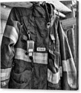 Fireman - Saftey Jacket Black And White Acrylic Print