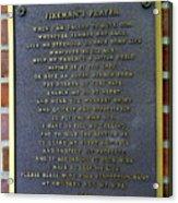 Fireman's Prayer Acrylic Print