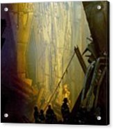 Firemen And Rescue Workers Conduct Acrylic Print by Everett