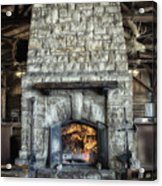 Fireplace At The Lodge Vertical Acrylic Print
