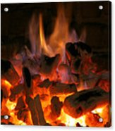 Fireplace Flames Acrylic Print by Francisco Leitao
