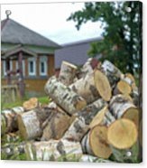 Firewood In The Village Acrylic Print