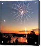 Fireworks And Sunset Acrylic Print by Amber Flowers