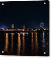 Fireworks And The Blue Bridge Acrylic Print