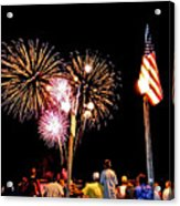 Fireworks And The Flag Acrylic Print
