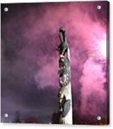 Fireworks And Totem Pole Acrylic Print