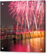 Fireworks And Waterfall Acrylic Print