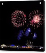 Fireworks Bursts Over Chicago Acrylic Print