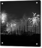 Fireworks In Black And White Acrylic Print