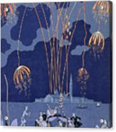Fireworks In Venice Acrylic Print by Georges Barbier