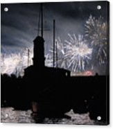 Fireworks Over Marseille's Vieux-port On July 14th Bastille Day Acrylic Print
