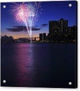 Fireworks Over Waikiki Acrylic Print by Brandon Tabiolo - Printscapes