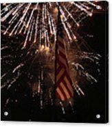 Fireworks With Flag Acrylic Print by Alan Look