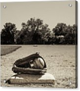 First Base In Sepia Acrylic Print