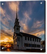 First Parish Church In Milton Massachusetts Sunset Acrylic Print