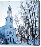 First Parish Church Manchester Ma North Winter Snow Acrylic Print