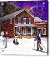 First Snow At The South Woodstock Country Store Acrylic Print