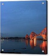 Firth Of Forth Bridges At Twilight - Panorama Acrylic Print