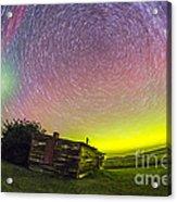 Fish-eye Lens Composite Of Aurora Acrylic Print