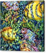 Fish Tales Iv Acrylic Print by Ann  Nicholson