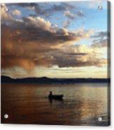 Fisherman At Sunset On Lake Titicaca Acrylic Print