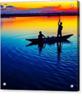 Fisherman Boat On Summer Sunset, Travel Photo Poster Acrylic Print