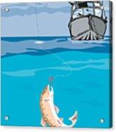 Fisherman Fishing Trout Fish Retro Acrylic Print by Aloysius Patrimonio