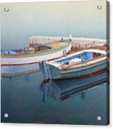 Coastal Wall Art, Fisherman In A Calm, Fishing Boat Paintings Acrylic Print
