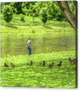 Fisherman Lazy Day At The Lake Acrylic Print