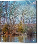 Fisherman On Burke Lake Acrylic Print