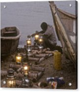 Fisherman Prepares Lanterns For Night Acrylic Print