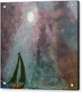 Fisherman Under Full Moon Acrylic Print