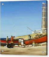 Fishermen By Lighthouse Acrylic Print