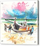 Fishermen In Praia De Mira 03 Acrylic Print