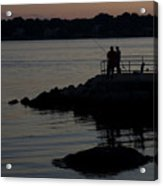 Fishermen Silhouetted By The Sunset Acrylic Print
