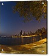 Fisheye Chicago Skyline At Dawn Acrylic Print