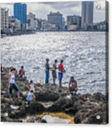 Fishing Along The Malecon Acrylic Print