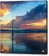 Fishing And Watching The Sunrise Acrylic Print